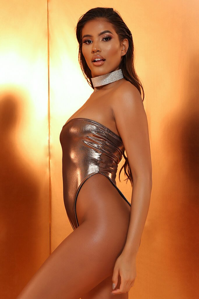 Bronze Metallic Bandeau Swimsuit view 2