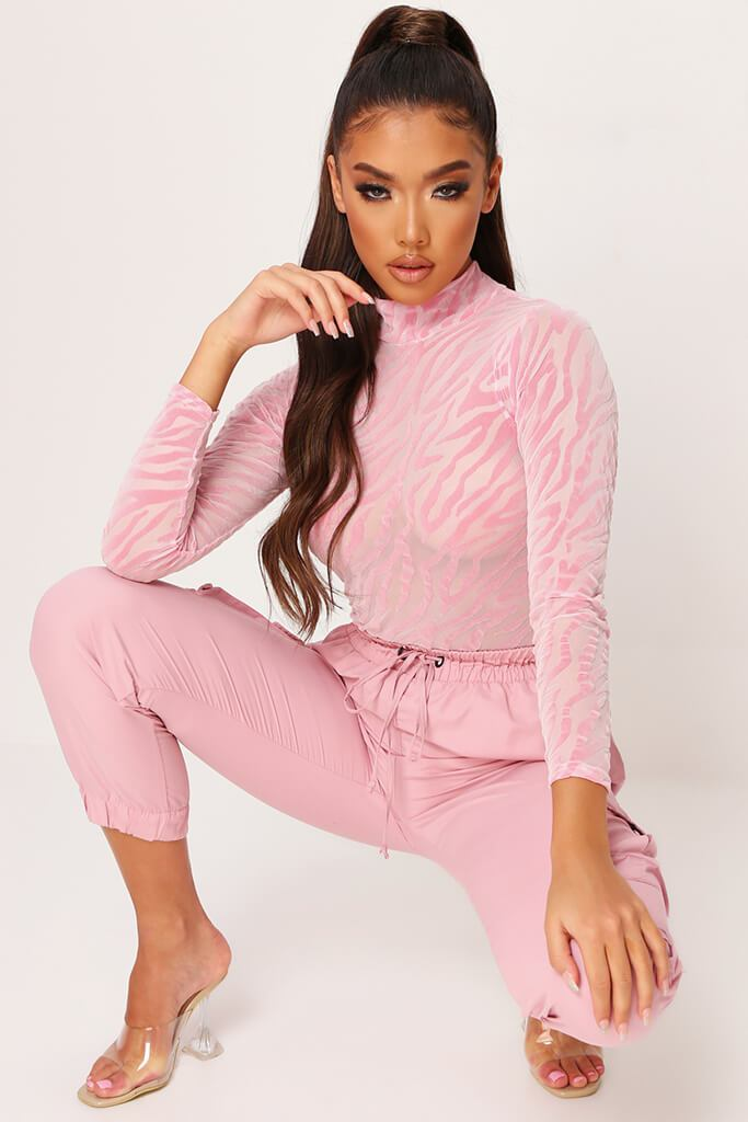 Pastel Pink Burnout Mesh Zebra Print Long Sleeve Bodysuit view main view