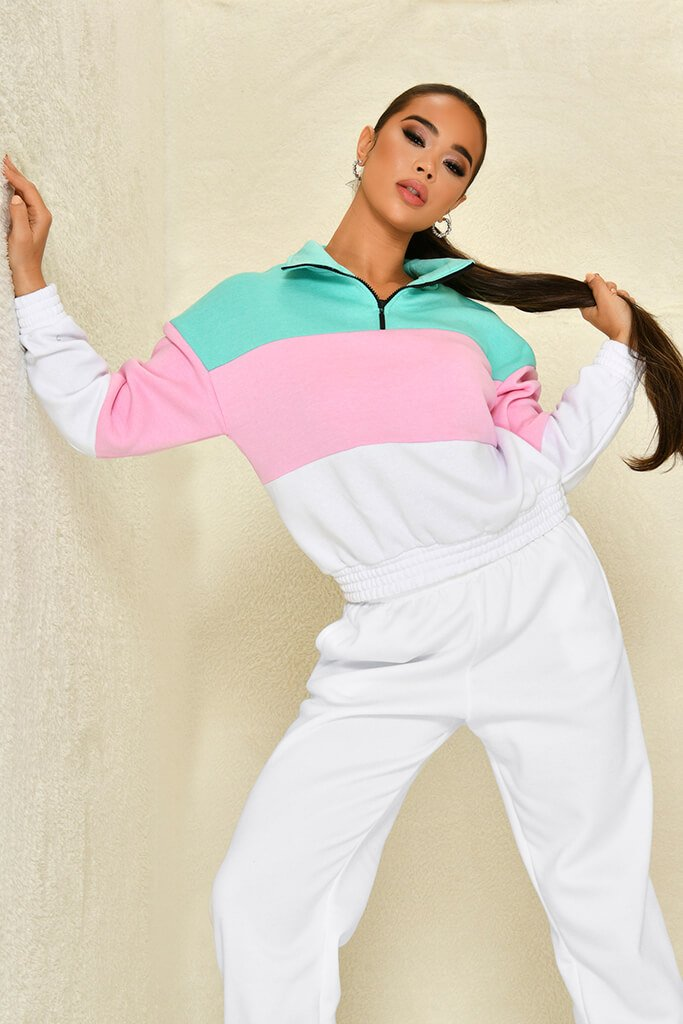 Sage Colour Block Half Zip Sweatshirt