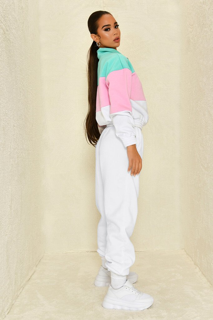 Sage Colour Block Half Zip Sweatshirt view 3