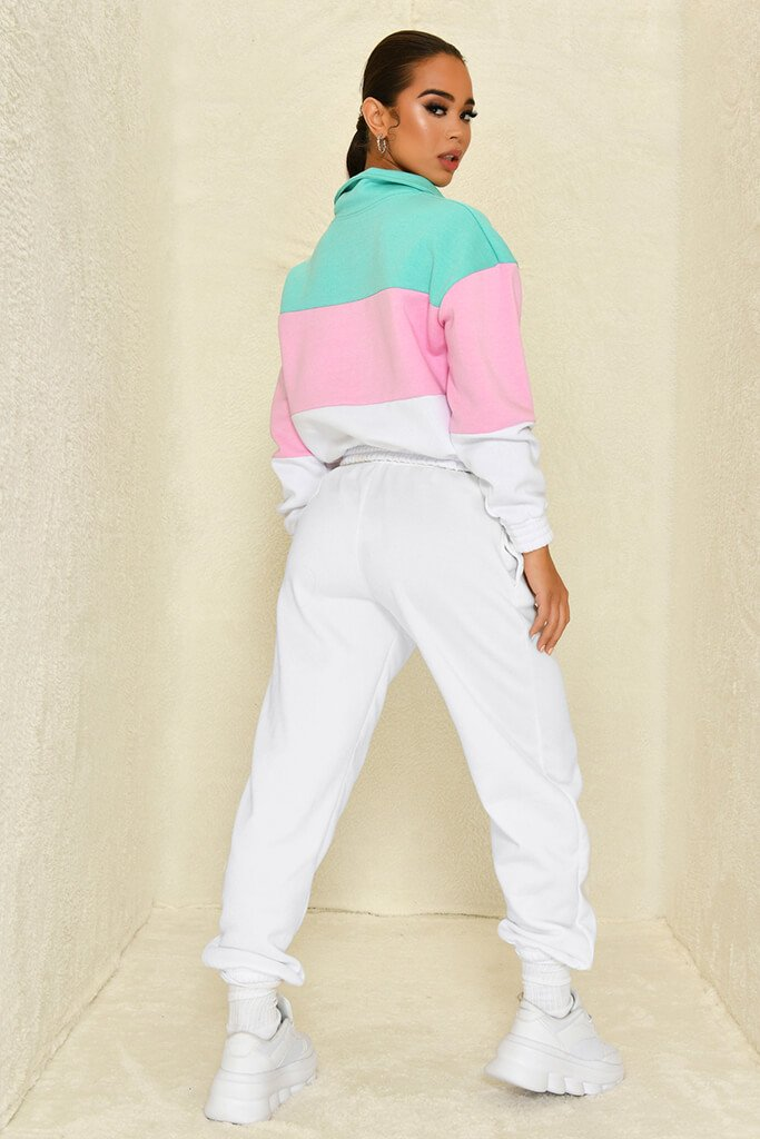 Sage Colour Block Half Zip Sweatshirt view 5