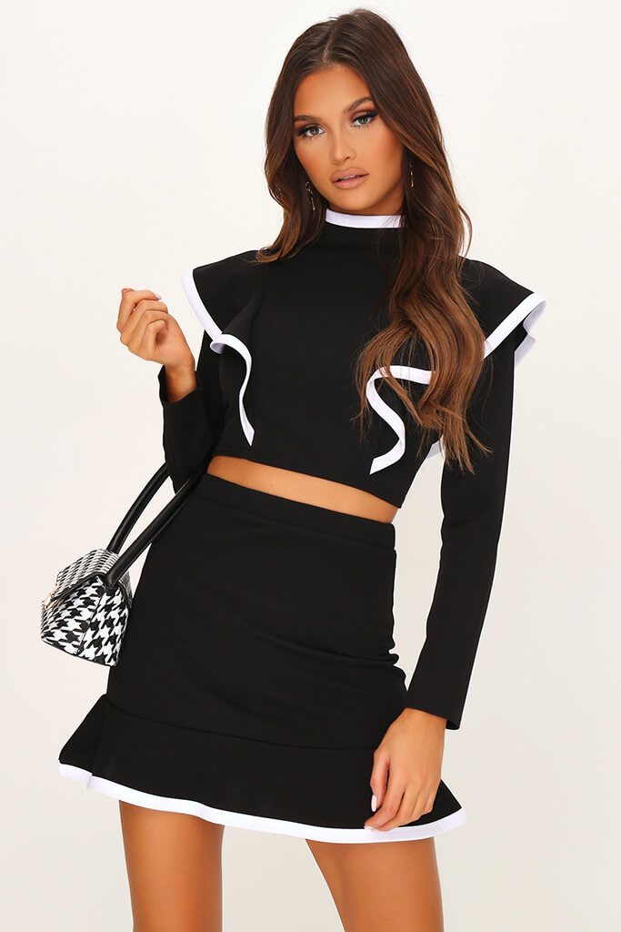 Black High Neck Contrast Binding Frill Crop Blouse