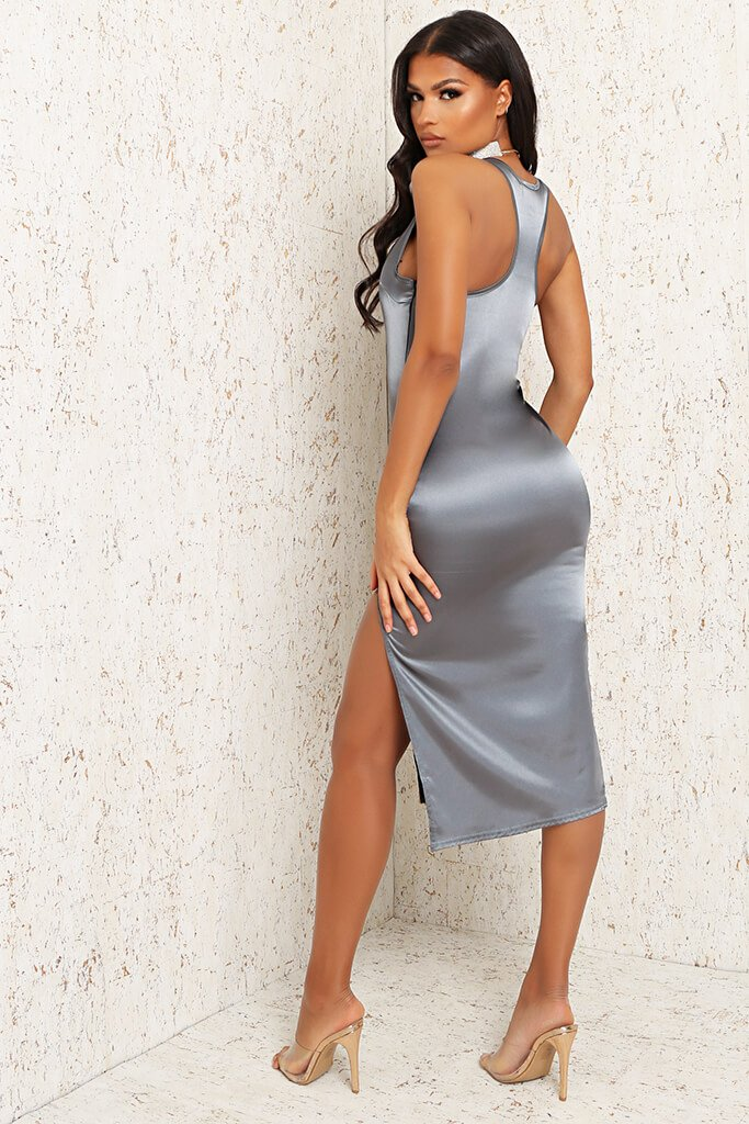 Grey Satin Race Back Split Leg Midi Dress view 5