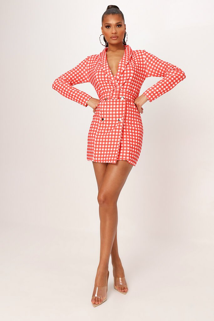 Red Crepe Gingham Double Breasted Belted Blazer Dress view 2