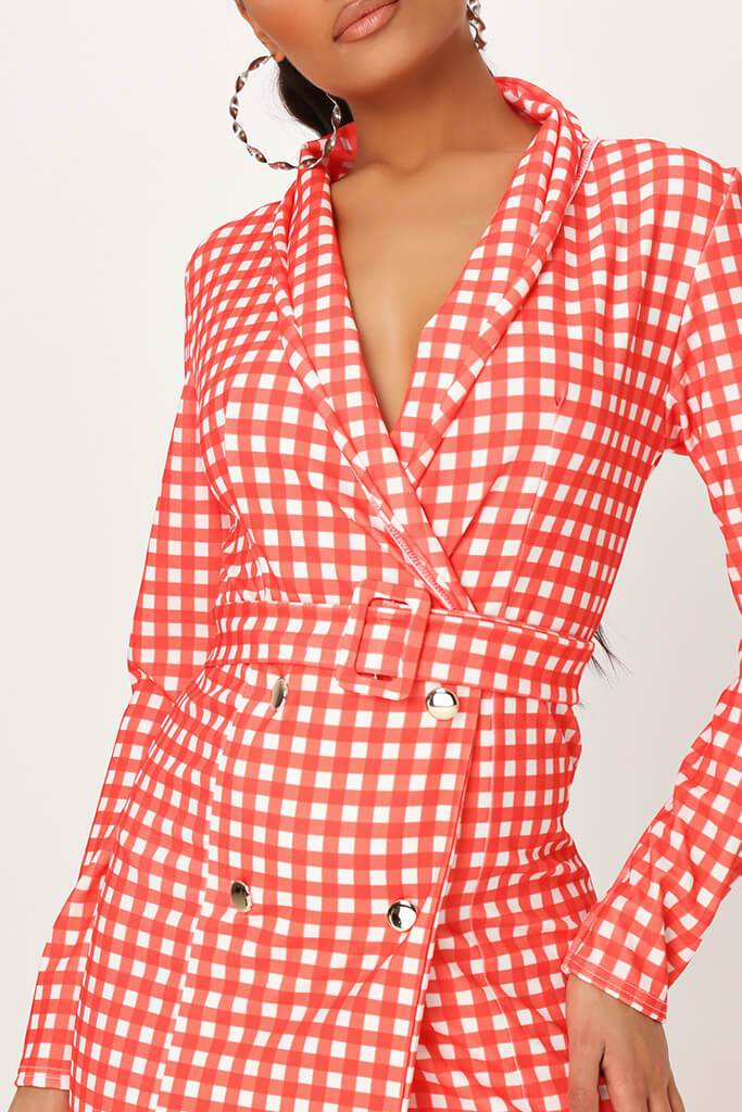 Red Crepe Gingham Double Breasted Belted Blazer Dress view 4