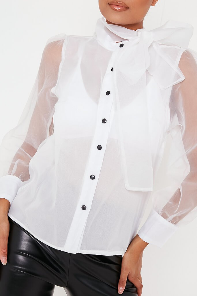 White Organza Pussybow Blouse view 4