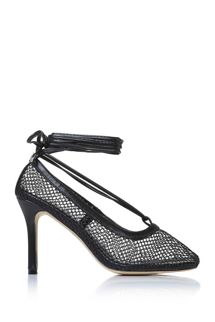 Black Fishnet Square Toe Strappy Heel