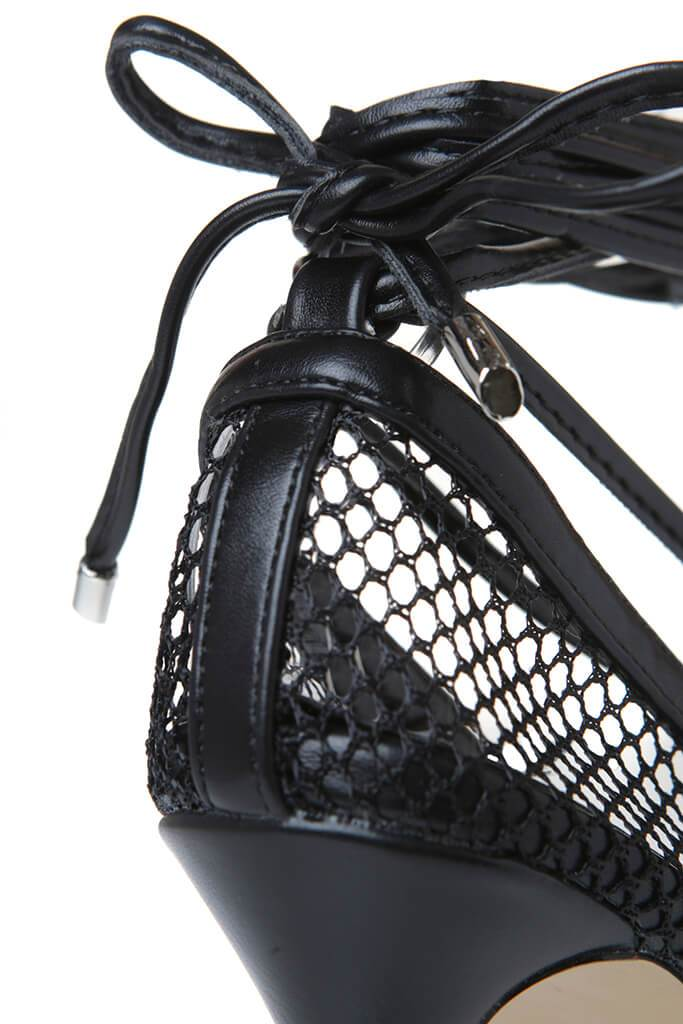 Black Fishnet Square Toe Strappy Heel view 2