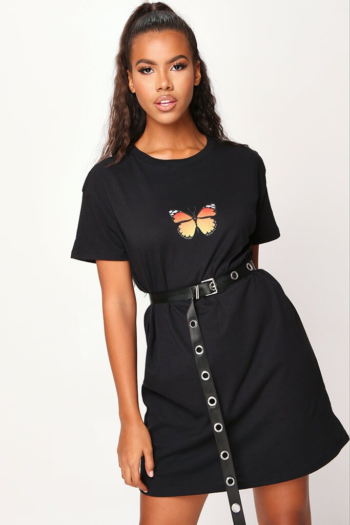 Black Butterfly Oversized T Shirt Dress