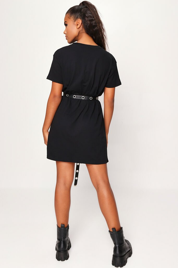 Black Butterfly Oversized T Shirt Dress view 5