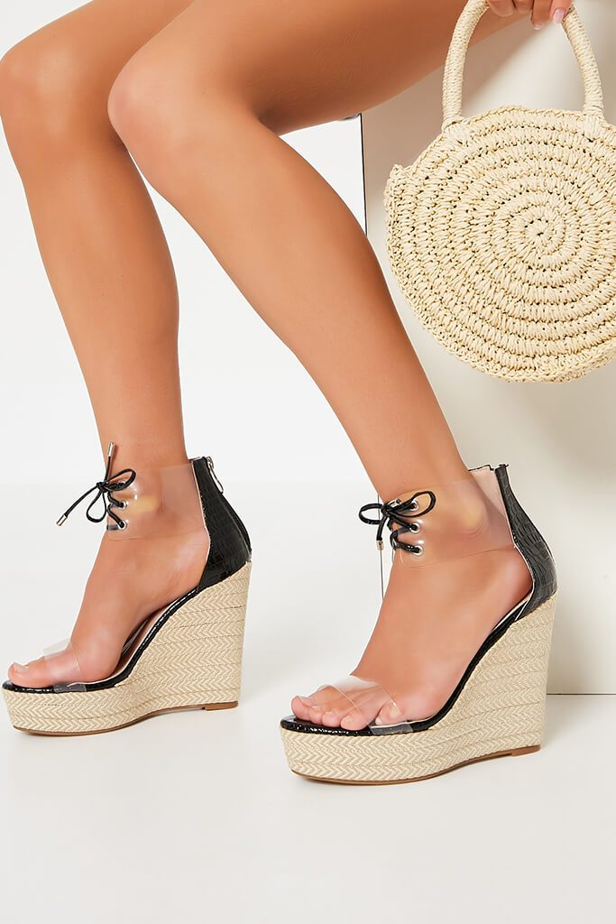 Black Perspex Espadrille Wedge