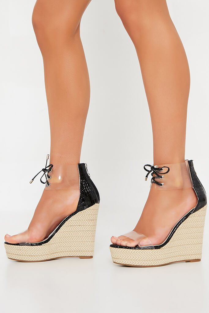 Black Perspex Espadrille Wedge view 2