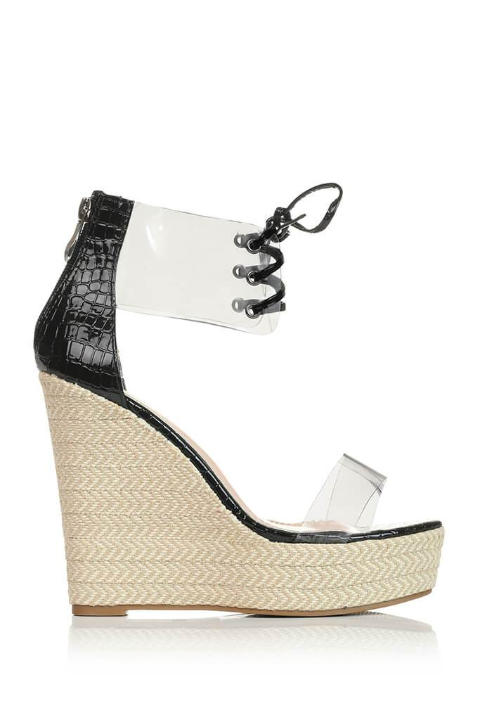 Black Perspex Espadrille Wedge view 4