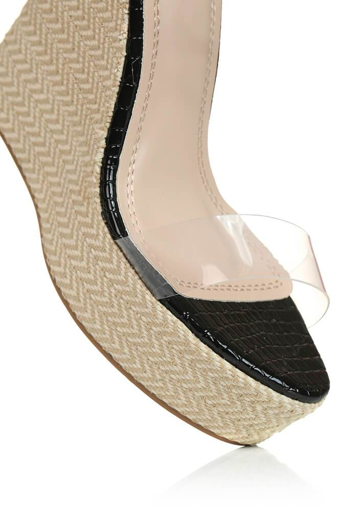 Black Perspex Espadrille Wedge view 5