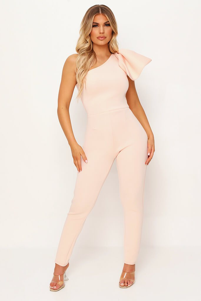 Nude Bow Shoulder Skinny Leg Jumpsuit view main view