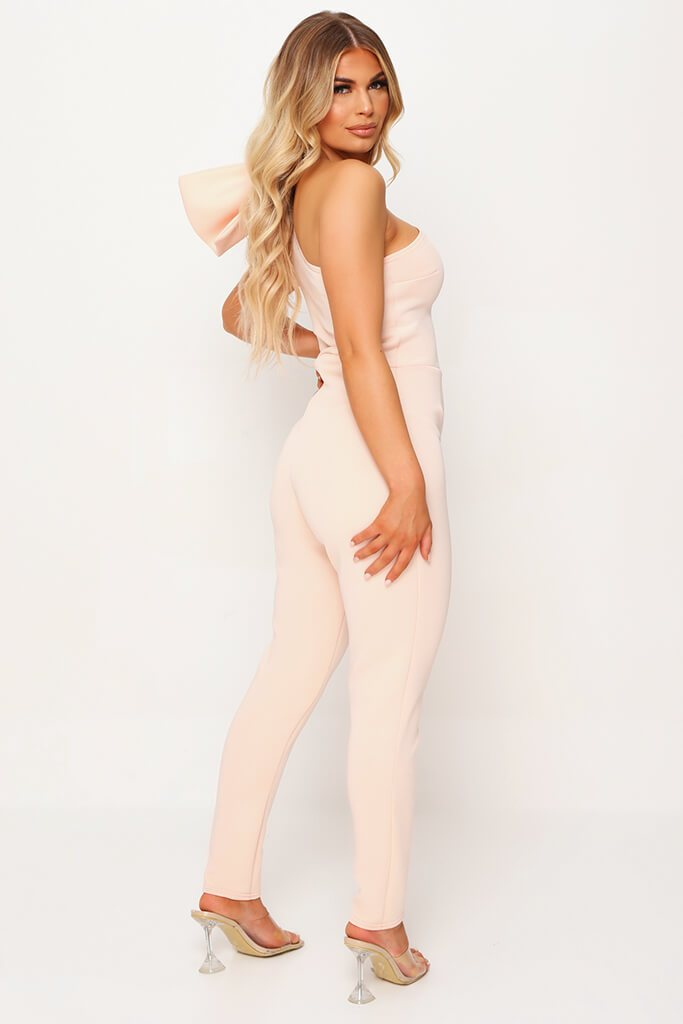 Nude Bow Shoulder Skinny Leg Jumpsuit view 3