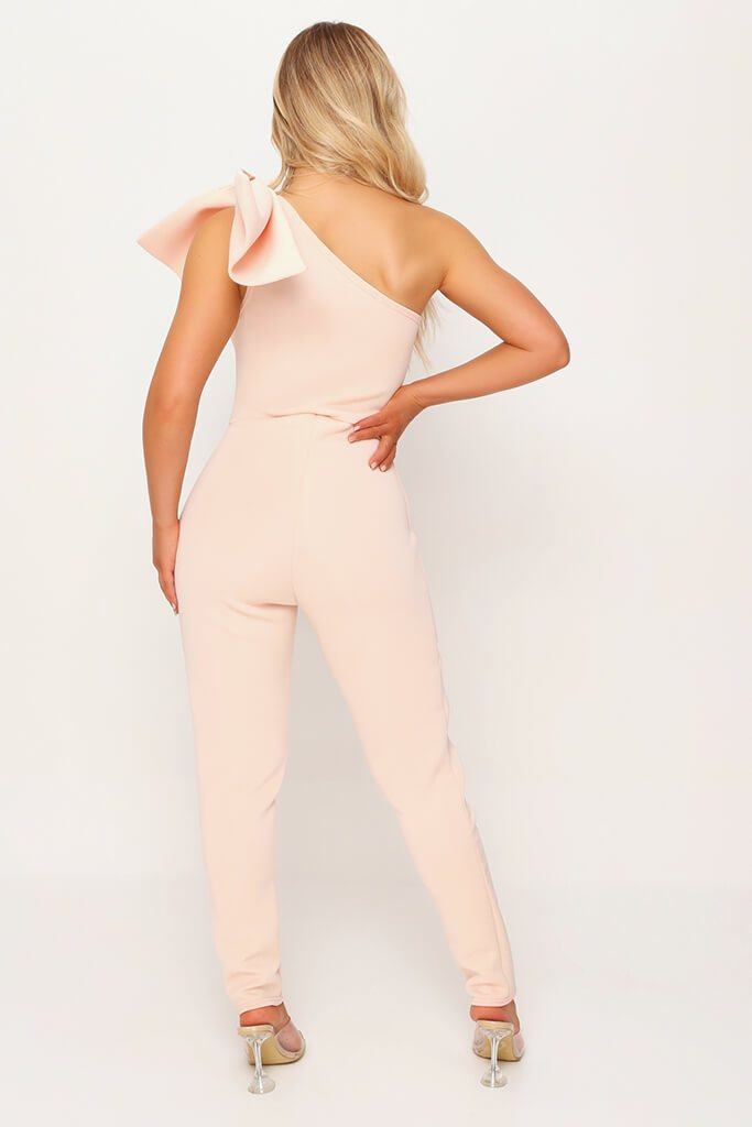 Nude Bow Shoulder Skinny Leg Jumpsuit view 5