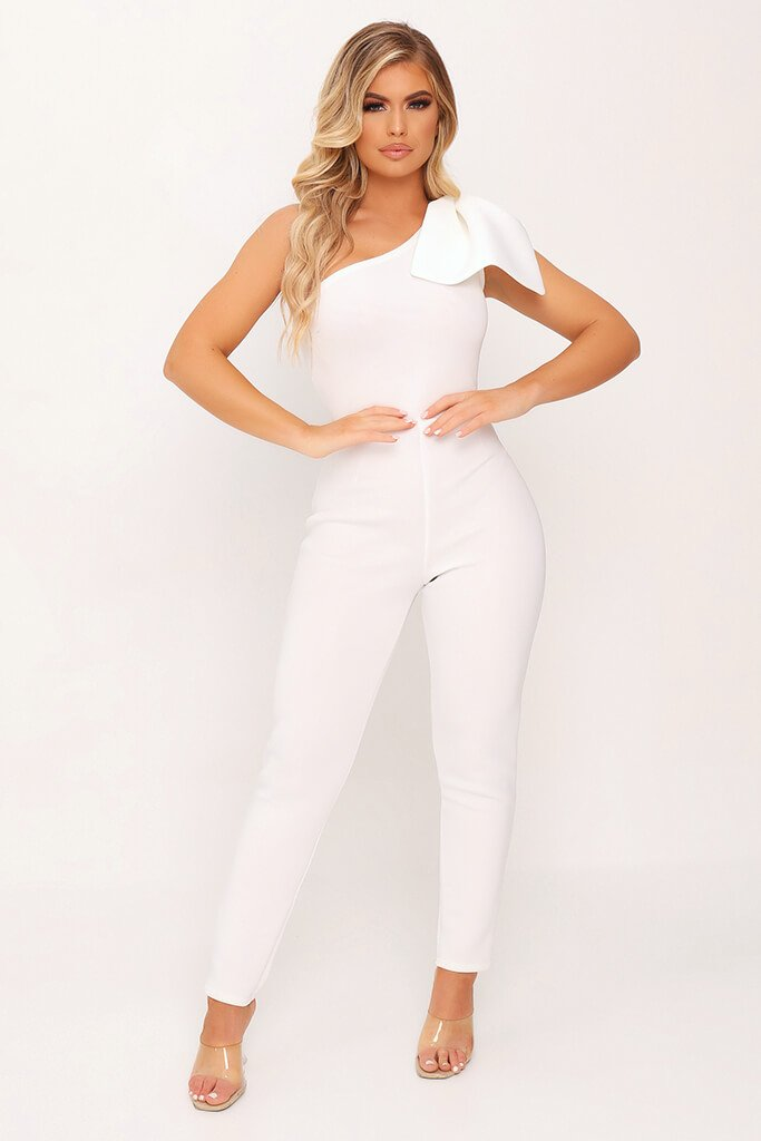 White Bow Shoulder Skinny Leg Jumpsuit