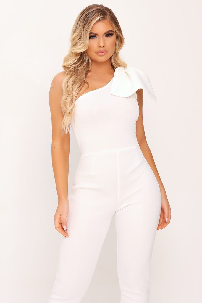 White Bow Shoulder Skinny Leg Jumpsuit view 2