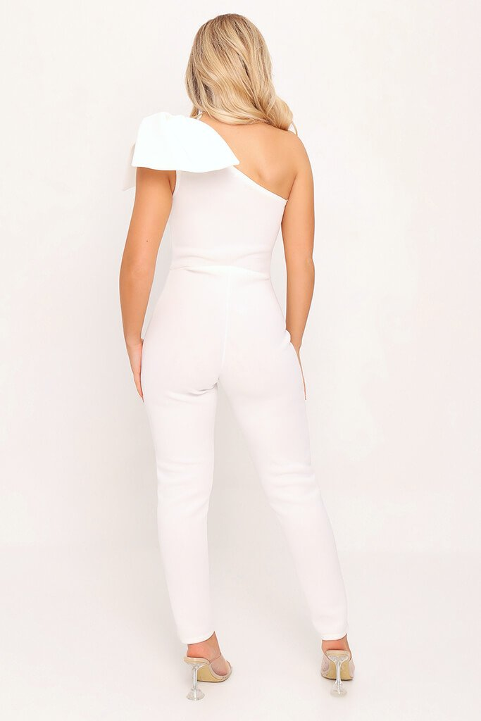 White Bow Shoulder Skinny Leg Jumpsuit view 5