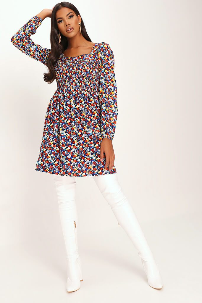Black Ditsy Floral Print Shirred Smock Dress view 2