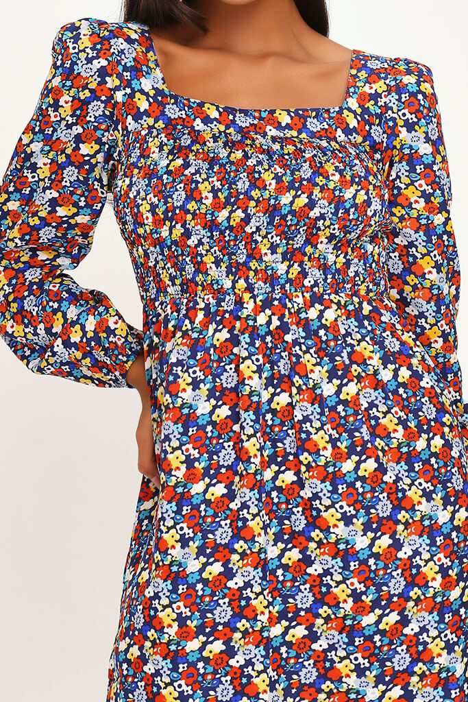 Black Ditsy Floral Print Shirred Smock Dress view 4