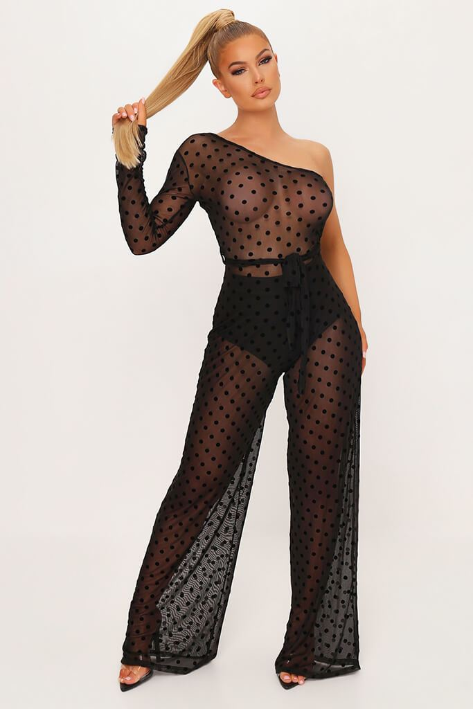 Black Polka Dot Mesh One Shoulder Jumpsuit