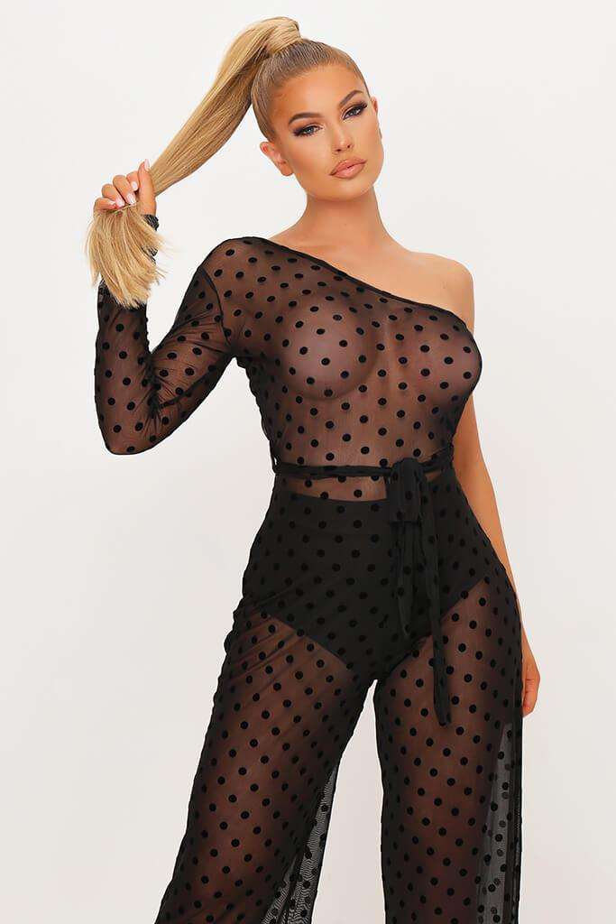 Black Polka Dot Mesh One Shoulder Jumpsuit view 2