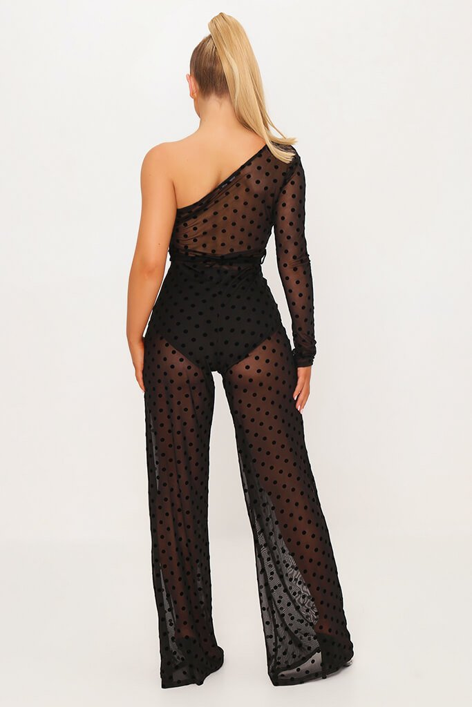 Black Polka Dot Mesh One Shoulder Jumpsuit view 5