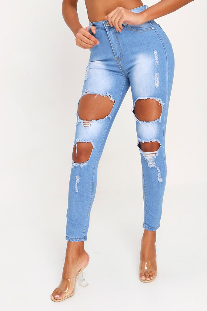 Light Wash Stretch Distressed Skinny Jean view 5