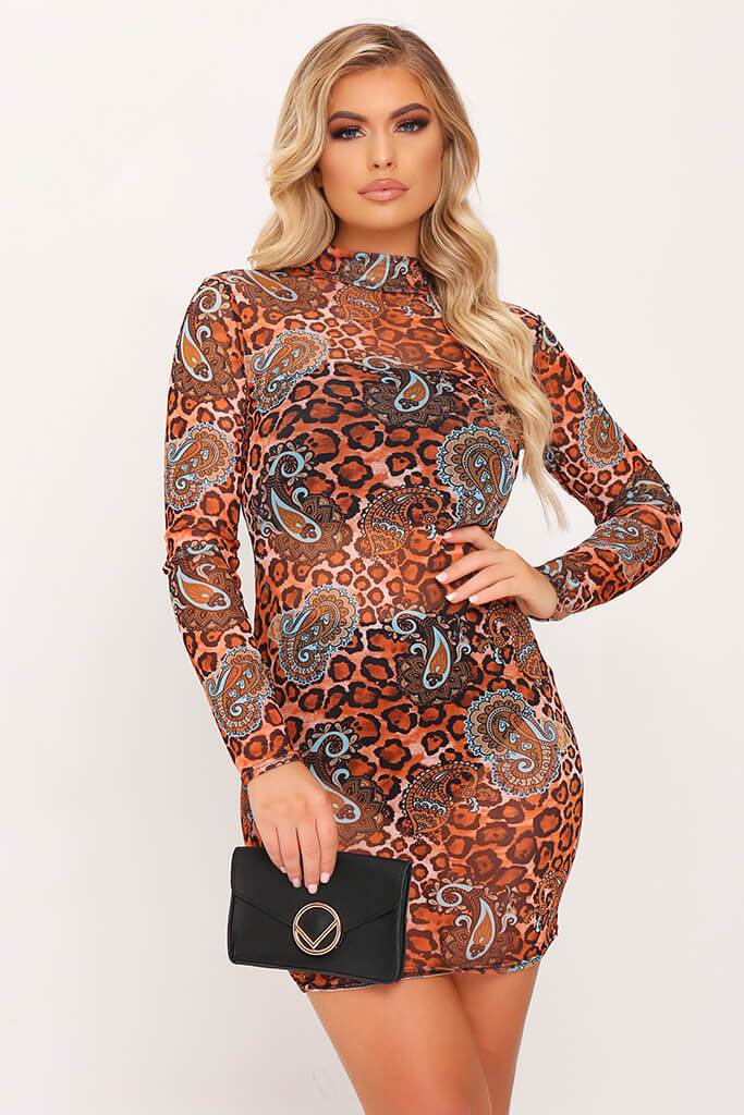 Animal And Paisley Print Long Sleeve Mesh Bodycon Dress view main view