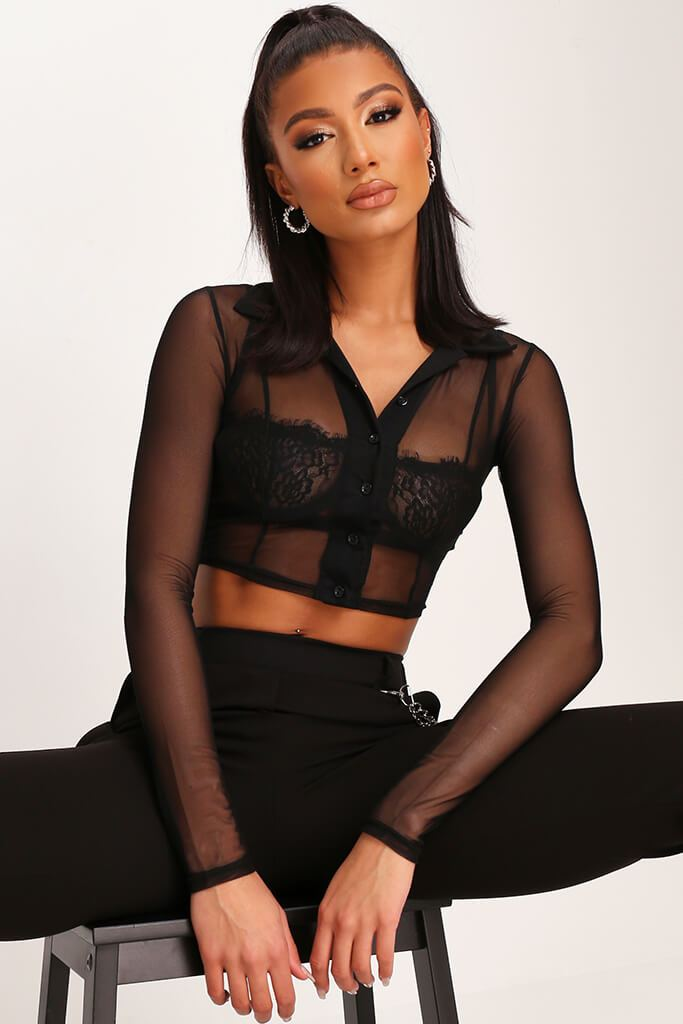 Black Mesh Polo Top