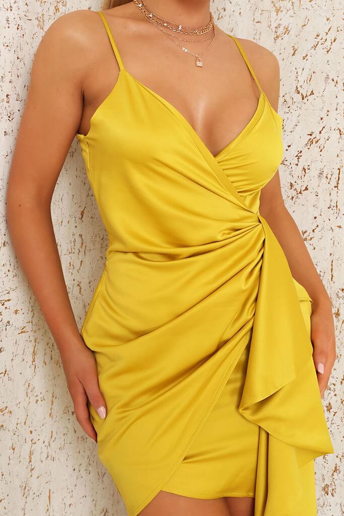 Yellow Premium Satin Cami Wrap Drape Mini Dress view 4