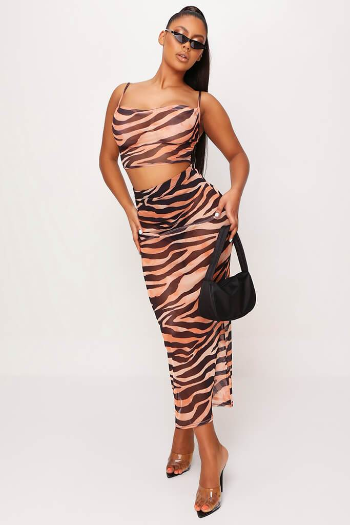 Rust Mesh Tiger Print Cowl Neck Crop Top view 2