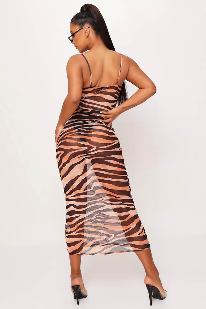 Rust Mesh Tiger Print Cowl Neck Crop Top view 5
