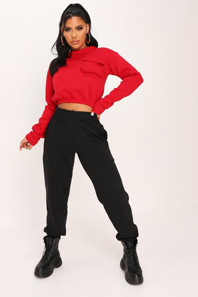Red Long Sleeved Pocket Front Sweatshirt view 2