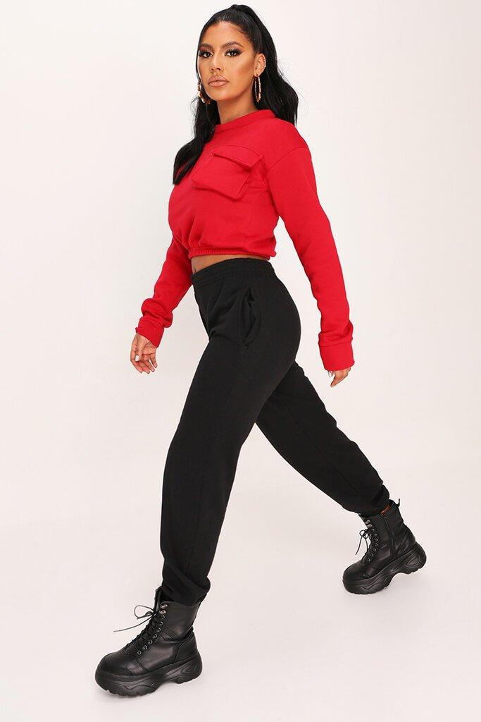 Red Long Sleeved Pocket Front Sweatshirt view 3