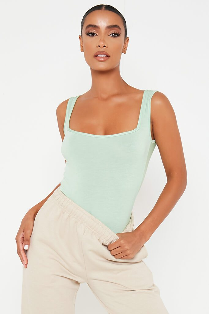 Sage Square Neck Sleeveless Bodysuit view main view