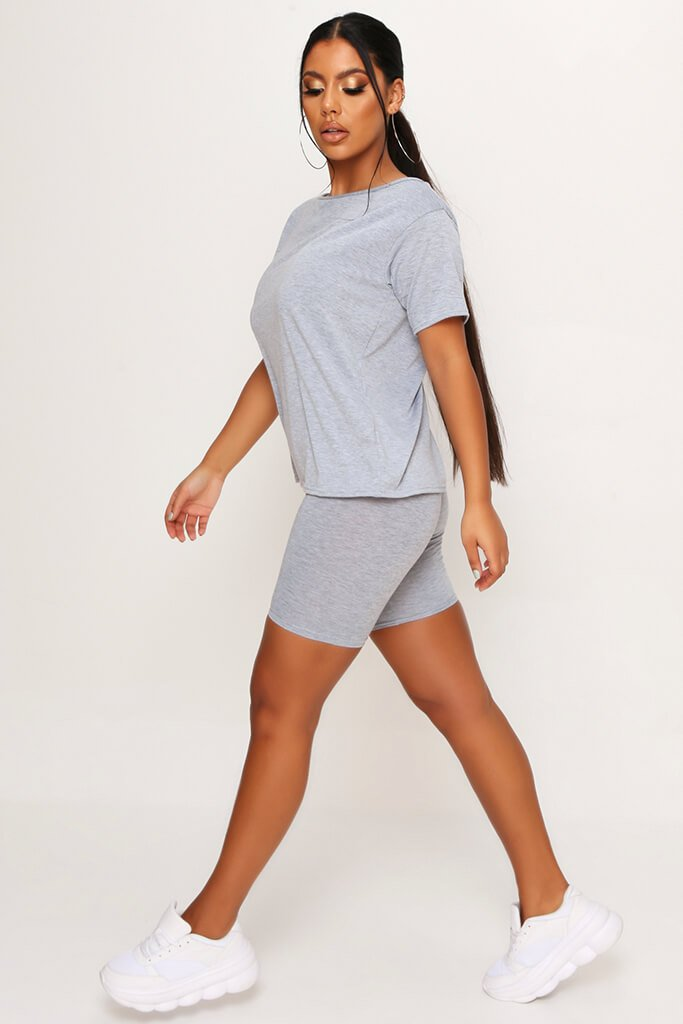 Grey Marl Basic Off The Shoulder Tshirt view 3