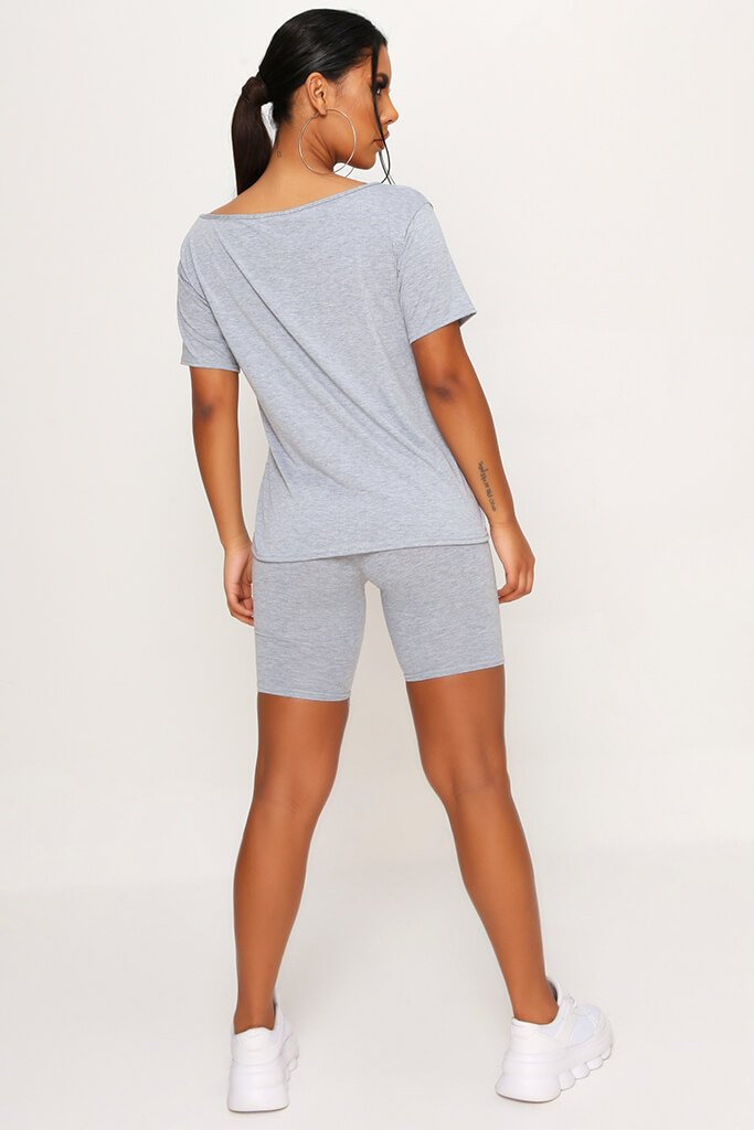Grey Marl Basic Off The Shoulder Tshirt view 5