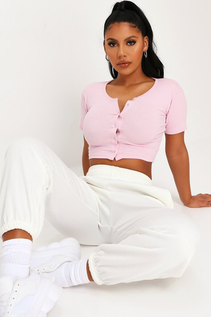 Baby Pink Rib Popper Front Crop Top view 2