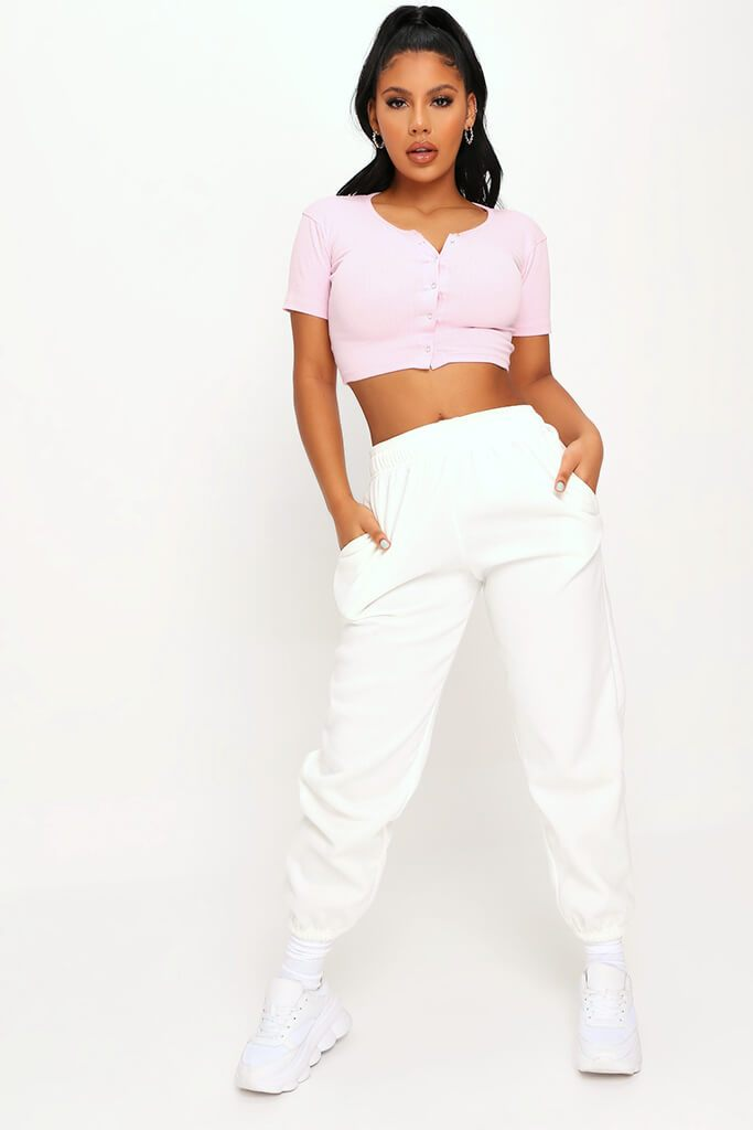 Baby Pink Rib Popper Front Crop Top view 3