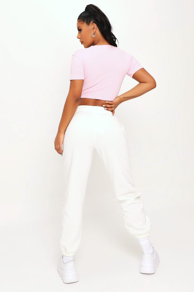 Baby Pink Rib Popper Front Crop Top view 5