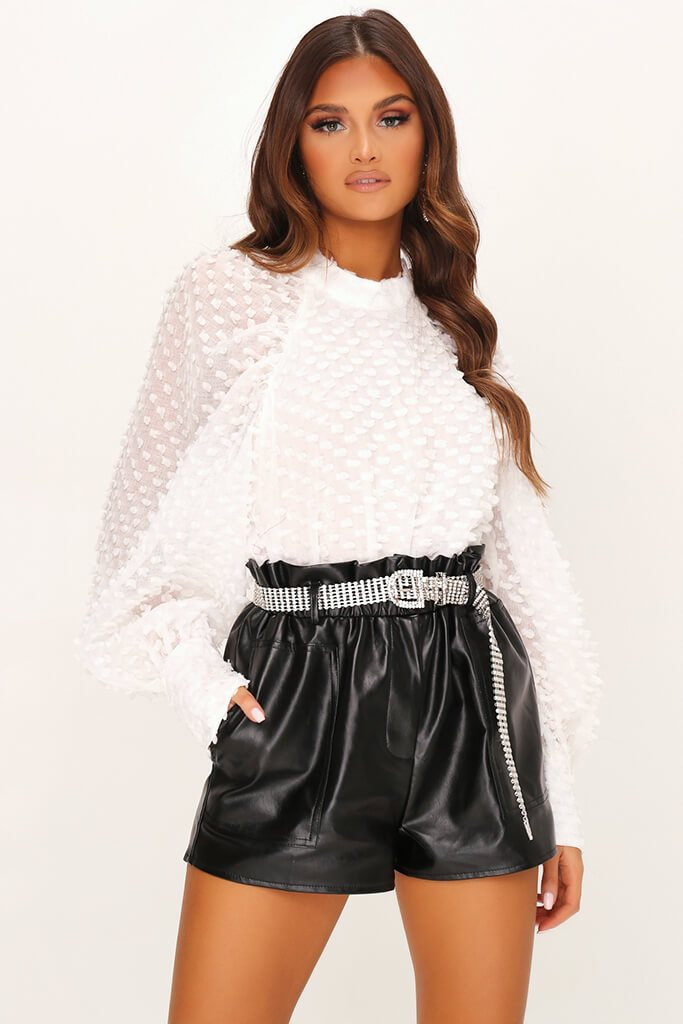 White Dobby Mesh Blouse view main view