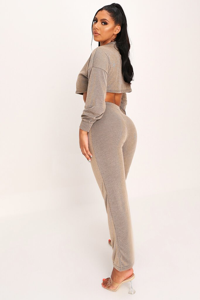 Tan Crop Top And Flare Trouser Set view 3