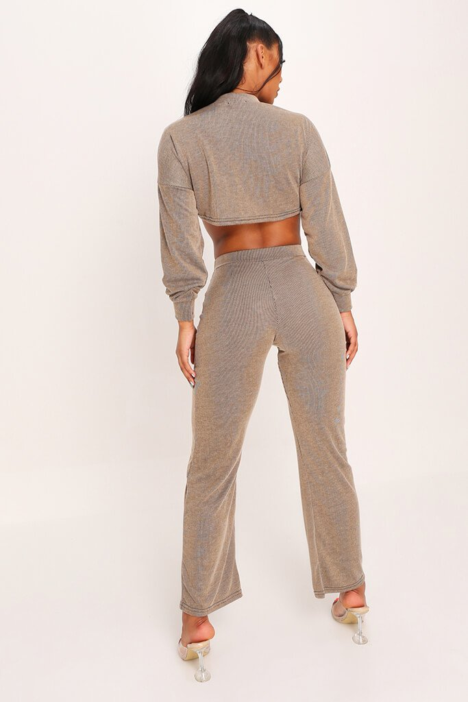 Tan Crop Top And Flare Trouser Set view 5