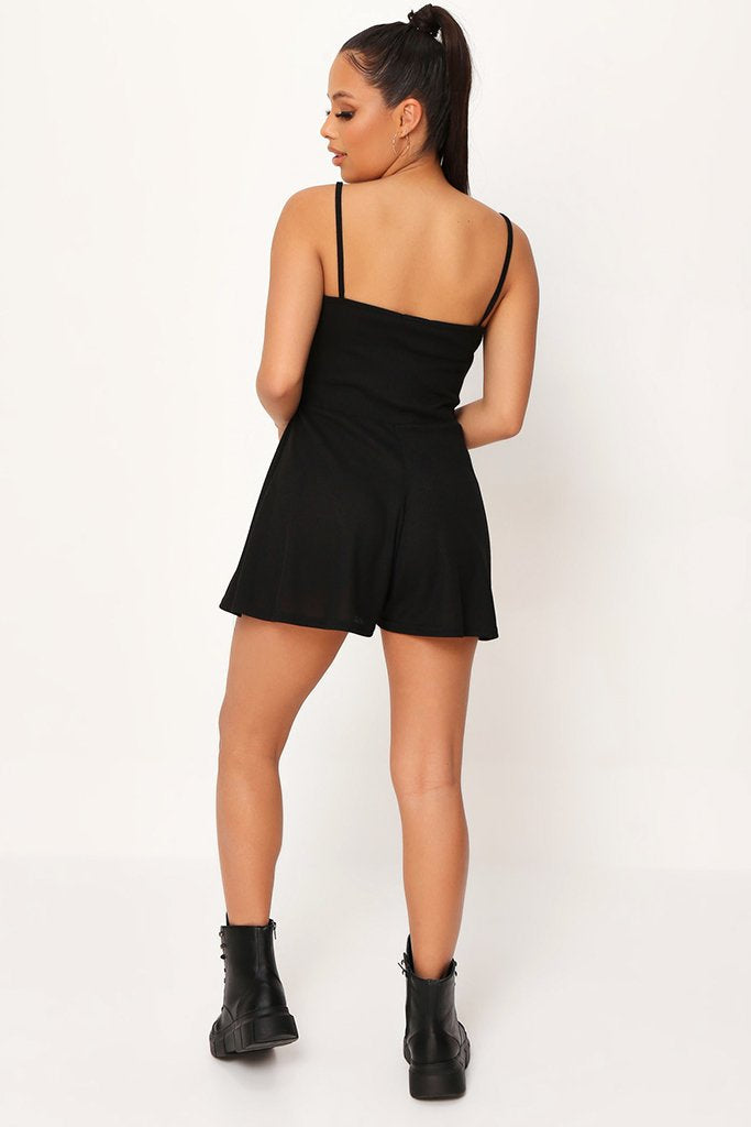 Black Strappy Wrap Playsuit view 5
