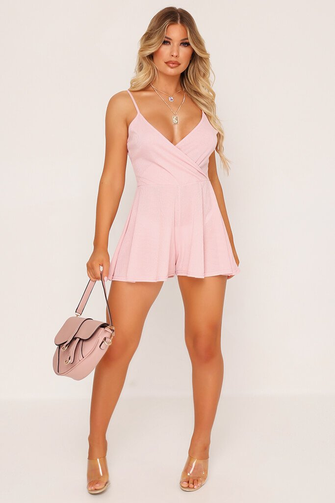 Pink Strappy Wrap Playsuit view 2