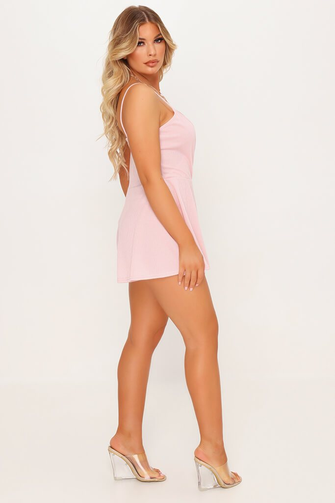 Pink Strappy Wrap Playsuit view 3
