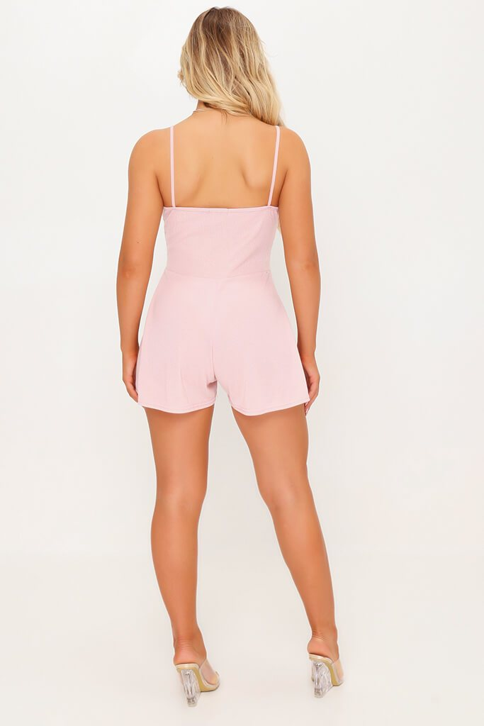 Pink Strappy Wrap Playsuit view 5